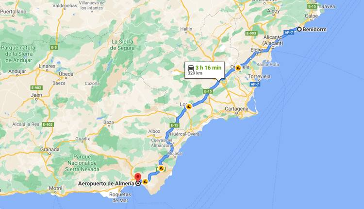 How to go from Almería Airport to Benidorm?