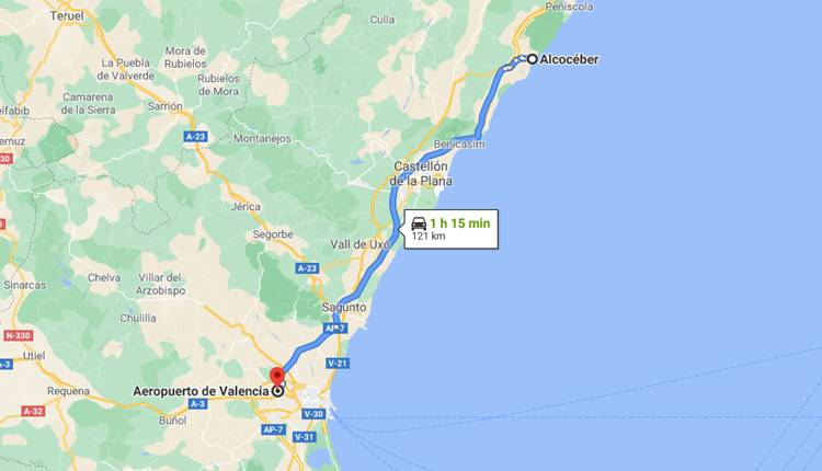 How to get from Valencia Airport to Alcoceber?