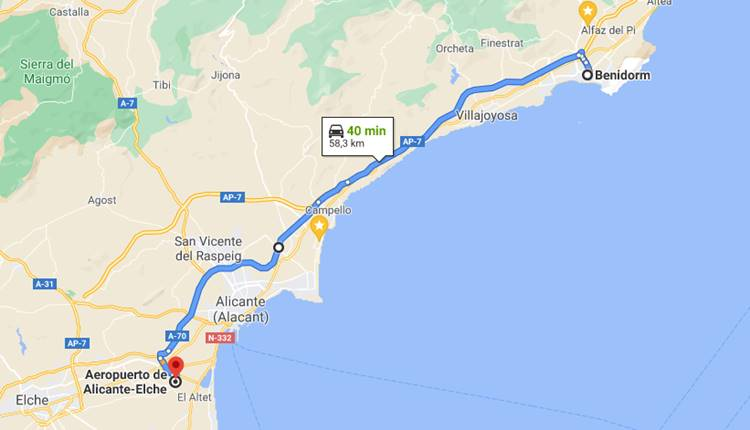 How to get from Alicante Airport to Benidorm?