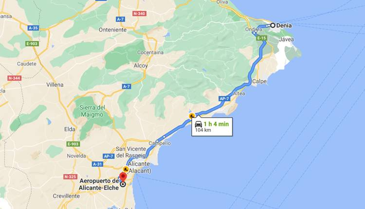 How to go or how to get from Alicante Airport to Denia?